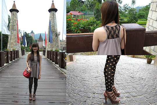 Ashley Liew - Taipei, Taiwan Retro Camera Necklace, Taipei, Taiwan Albert Einstein Top, Bangkok, Thailand Polka Dot Mesh Leggings, Night Market Red Bucket Bag, Taipei, Taiwan Brown Strappy Heels - Not the real France, but good enough