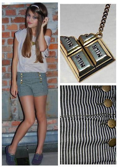 Julia R - Springfield Chocolate Bracelet, Forever 21 Short, H&M Beige Shirt - Chocolate love