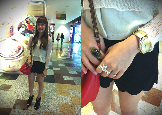 Ashley Liew - French Connection Uk Gold Watch, Love Ring, Fishnet Sweater, Bangkok, Thailand Beige Tank Top, Bangkok, Thailand High Waist Scallop Shorts, Night Market Red Bucket Bag, Platforms, Black Tribal Ring - Accidental shopping incident