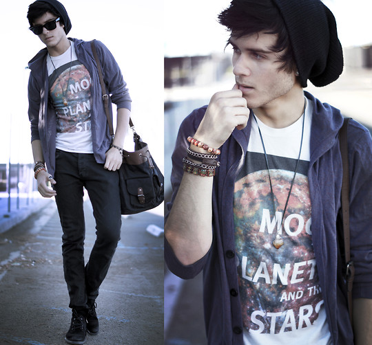 Adam Gallagher - Heritage 1981 Beanie, Metropark (Rip:[) Purple Cardi, Galaxy Tee, Zara Satchel - The gypsy