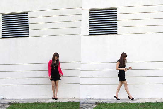 Ashley Liew - Pink Chiffon Blazer, Wool Black Dress, Bangsar, Kuala Lumpur Pink Stone Necklace, Black Felt Pumps - Lovely Black Dress