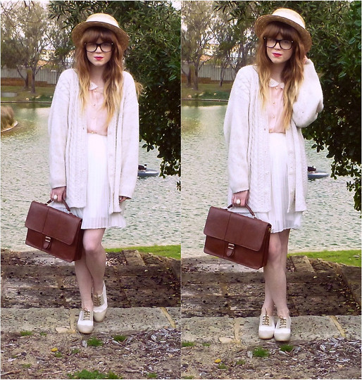 Claire Mcmanus - Pleated Skirt, Sheer Blouse, Thrifted Satchel, Thrifted Cardigan - HERE COMES THE SUN