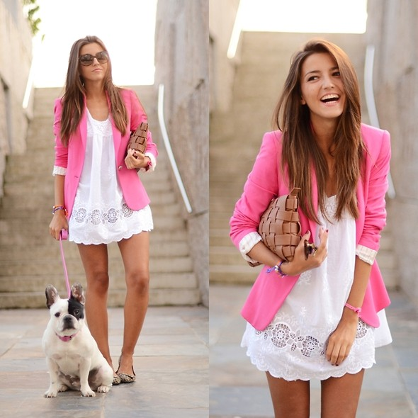 Alexandra Per - Zara Pink Blazer, Westrags Clutch, Queens Wardrobe Dress, Pull & Bear Flats - Pink for summertime