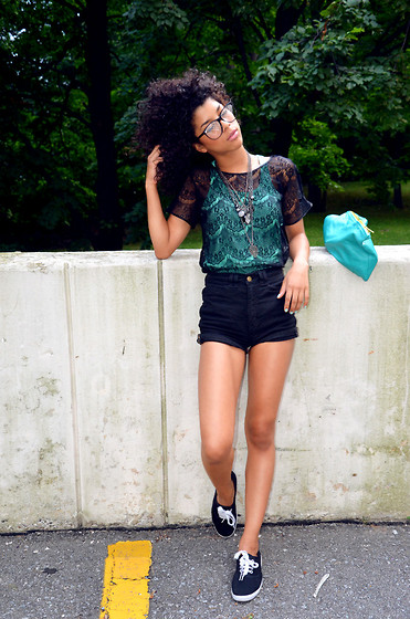Zoe Badley - American Apparel Lace Shirt, American Apparel Zipper Shorts - I've been looking for this groove