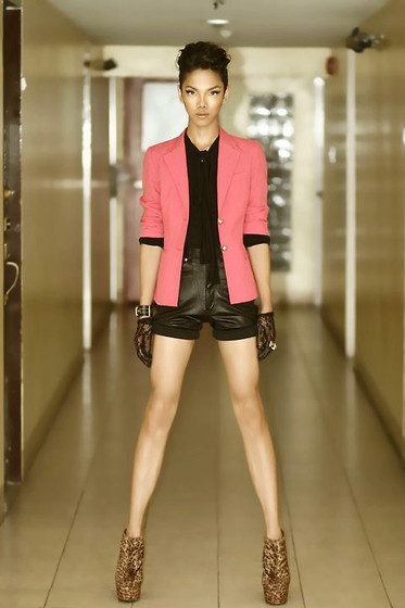 Kevin Cusi - Janylin Leopard Booties, Reconstructed Pink Blazer, Bazzar Black Bow Top, High Waist Leather Shorts - First attempt