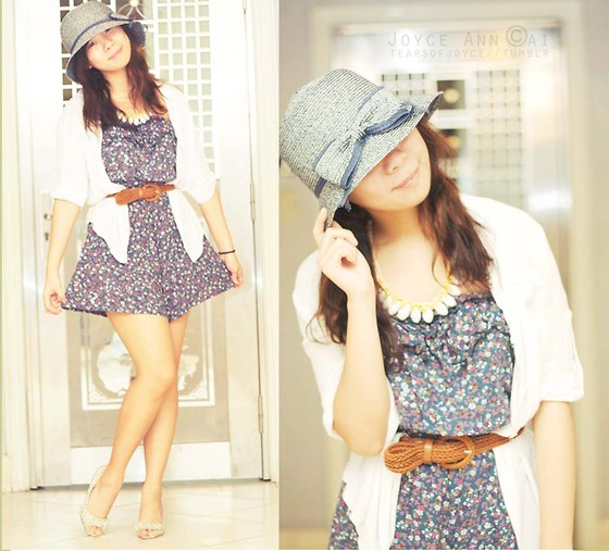 Joyce Cai - Sm Department Store Hat With Bow, Boracay Shell Necklace, Sm Department Store Romper, Forever 21 Floral Heelsf, Random Brown Belt, Zara White Cover Up - Simple pieces