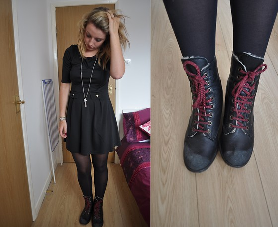 V K - Primark Black Skater Dress, Topshop Black Fur/Red Lace Boots - You don't need to ask if I'm okay