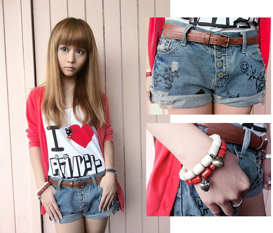 Maguro Relle - Love I Japan, Mcky Coral Red Cardi, Short Funky Jeans, Cotton On C.O Bracelet - I heart...