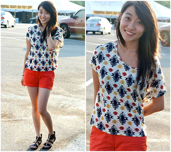 Mindy H - Urban Outfitters Patterned Top, Orange Shorts, China Studded Sandals - ☆ lightless