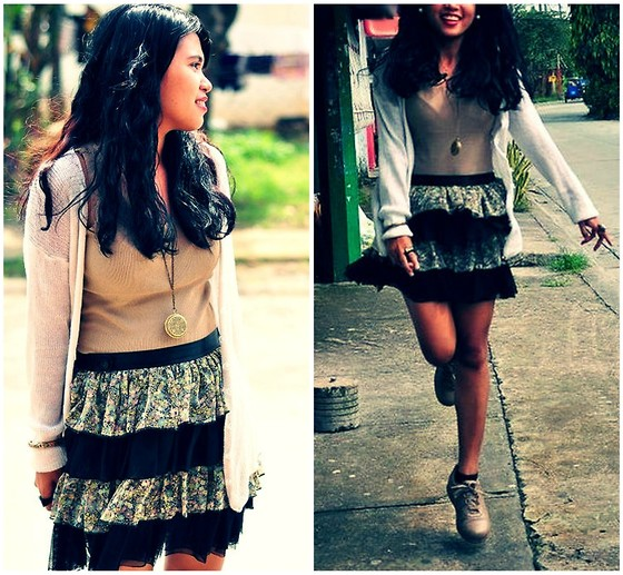 Jane Aguilar - Divisoria Victoria's Locket, Vintage Shoes, Thrifted Layered Skirt, Thrifted Knitted Cardigan, Marks And Spencer Grey Sleeveless - B goes to Granny's 88!