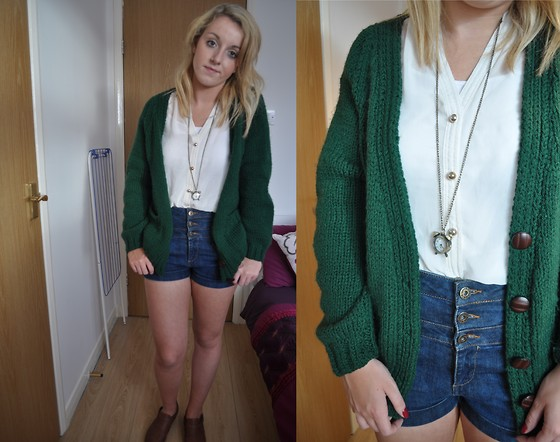 V K - Topshop Cream Blouse, Topshop High Waist Denim Shorts, Glasgow Market Vintage Clock Necklace, Handmade By My Gran Green Cardigan - Let's get right back to the basics