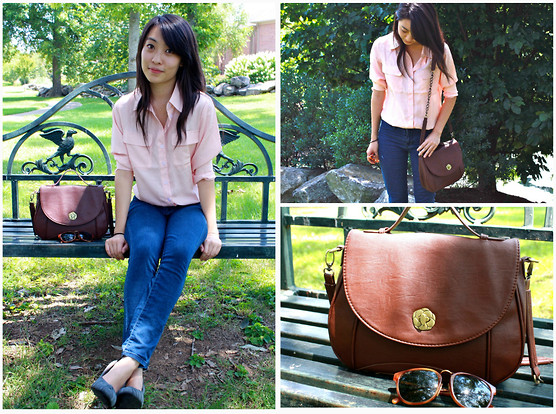 Mindy H - Cross Body Bag, Ray Ban Sunglasses, Peach Blouse, Urban Outfitters Jeans, Gray Suede Heels - ☆ so goodbye