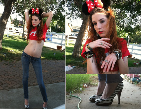Rose Pendleton - Forever 21 Double Bird Ring, I'm A Jerk Industries Zebra Crop Top, Disneyland Minnie Ears, Bullhead Skinny Jeans, Madden Girl Zebra Heels, Hot Topic Skeleton Fish Earrings, Disneyland! Mickey Mouse Ring - Max Meets Minnie & Makes Zehr