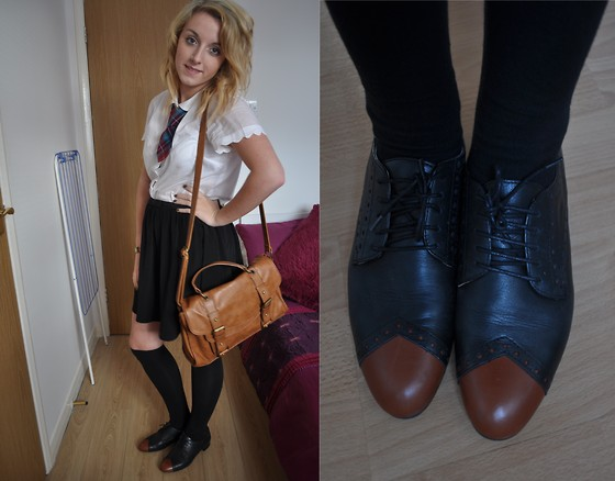 V K - Topshop White Scalloped Peter Pan Blouse, Topshop Black Bow Flippy Skirt, Topshop Tan Bag, Topshop Black Brogues With Tan Toes, My School Tie - Back to school