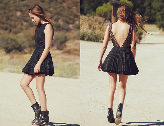 Bethany Struble - Backless Lace Dress, Vintage Leather Boots - Bullets On The Ground