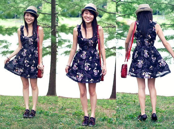 Mindy H - Urban Outfitters Floral Dress, Versace Red Cross Body Bag, China Studded Heels - ☆ small talk