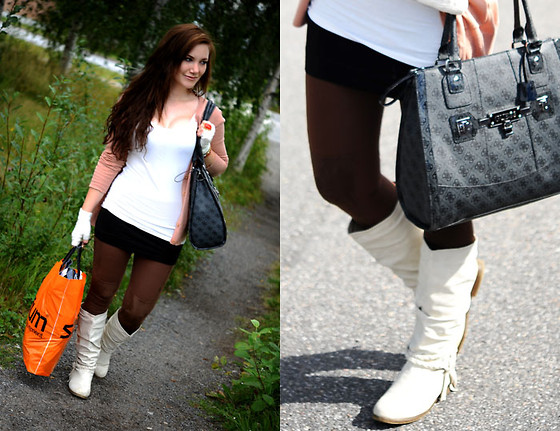 Ida Eriksson - Guess? Bag, Amsterdam White Shoes, H&M Leggings, H&M Top, H&M Cardigan - Friday shopping