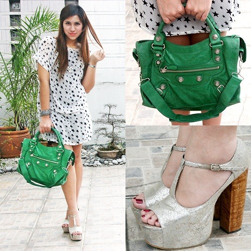 Neeresh Das - Balenciaga Motorcycle Bag, Das Silver Platforms, H&M Star Dress, India Silver Bangles - Green Stars
