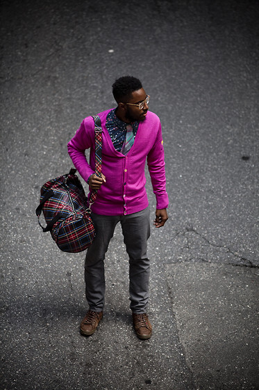 Curran J. Swint - Fred Perry Duffle Bag, Moods Of Norway Cardigan, Paul Smith Canvas Sneakers - The Last Man Standing