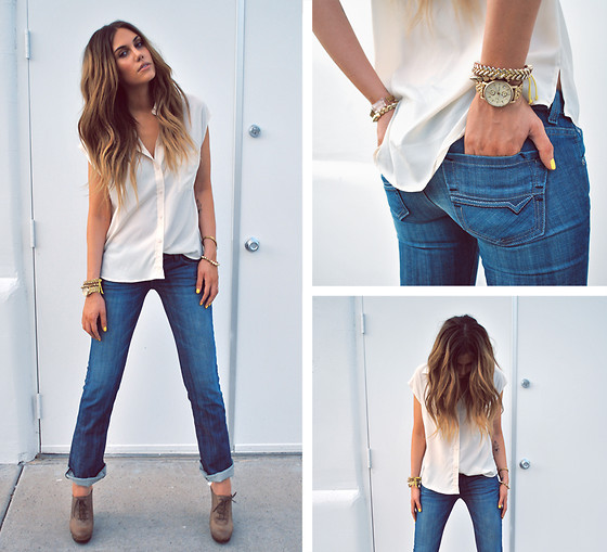Rae Shoemaker - Forever 21 Silk Blouse, Forever 21 Gold Bracelets, Sam Edelman Booties, Doctrine Denim Jeans - I got the denim blues for days and days