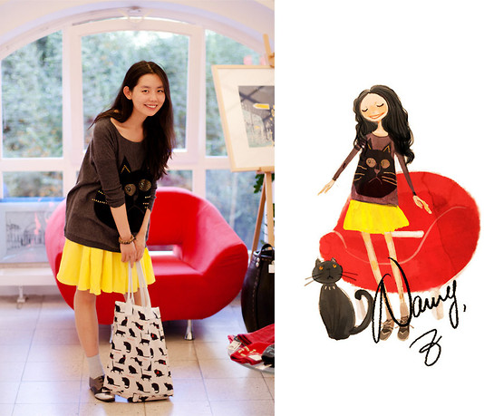 Nancy Zhang - Cos Skirt - My cat on my jumper!