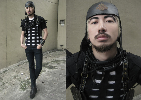 Andre Judd - Caged Knit With Spikes, Rope Necklaces, Holster Leather Bag, Leather Aviator Cap, Leather Bracelets - ϞϞ THUNDERDOME ϟϟ