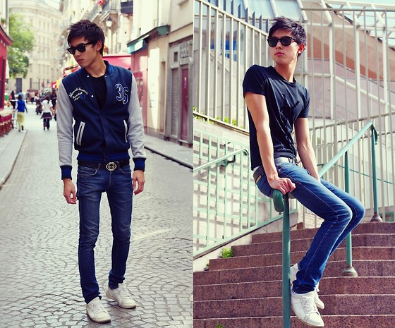 Nicolas Sundara - Ray Ban Wayfarer, H&M Baseball Jacket, Gucci Guccissima Leather Belt, Zara Skinny Jeans, Marc By Jacobs Sneakers, Yves Saint Laurent Logo Tee Shirt - Yves saint laurent city jock
