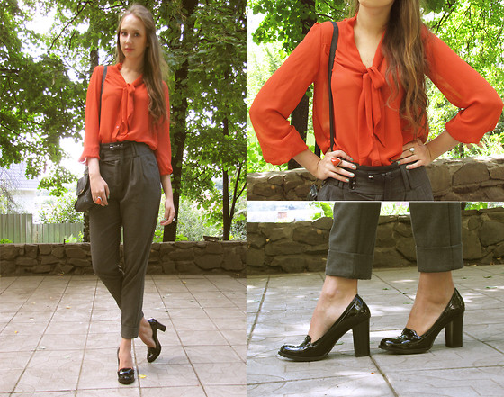 Katerine Shemyakina - H&M Blouse, Zara Trousers - Orange/grey