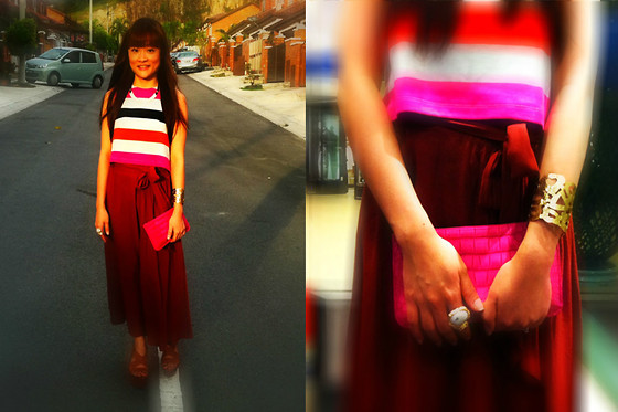 Ashley Liew - Yves Saint Laurent Ysl Inspired Arty Oval Ring, H&M Gold Choker With Leather Cord, H&M Colourful Striped Crop Top, Mango Brown Maxi, Brown Wooden Platforms, Topshop Patterned Gold Cuff, Bangkok, Thailand Pink Faux Leather Clutch - Date night