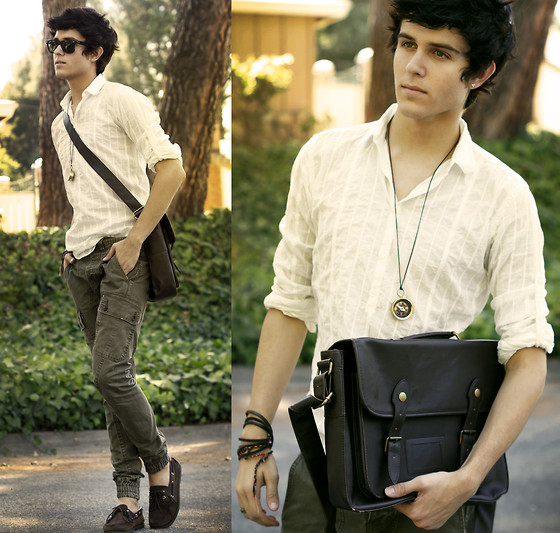 Adam Gallagher - Topman Satchel, Dragon Marsh Riverside Compass Necklace, Topman Cargo Pants - The pioneer