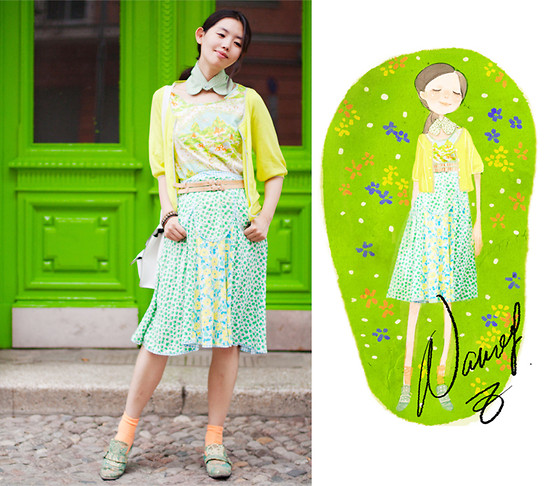 Nancy Zhang - Uniqlo Shirt, Tsumori Chisato Skirt - Urban's green fairy tale.