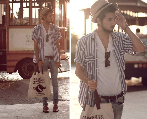 Bobby Raffin - Mexico Leather Pointed Dress Shoes, Hand Me Down Oversized Button Up, Plain White Tee, Ray Ban Wayfarer, Straw Fedora, Forever 21 California Tote Bag, H&M Light Wash Acid Jeans, Mexico Leather Braid Belt, Wooden Beaded Bracelet - I've got a one way ticket to freedom.