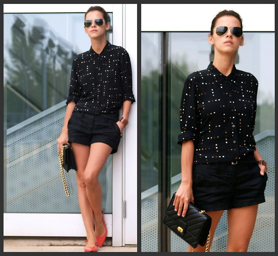 Veronica P - Liz Claiborne Shirt, Ray Ban Sunglasses, Forever 21 Shorts - Back to black!