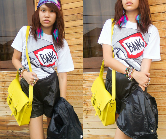 Mia Durano - Sm Department Store White Shirt, Coconut Gold Neon Yellow Satchel, Thrifted Black Leather Shorts, Ziya Turban, Diy Feather Earrings - Celebrate Everyday with a Bang.
