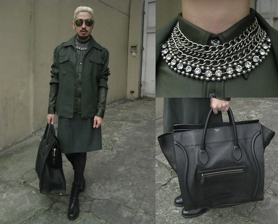 Andre Judd - Céline Luggage Large, Jimmy Choo Chain And Crystal Strand Necklace, Vintage Olive Drab Shirt, Vintage Olive Drab Two Pocket Jacket, Vintage Olive Drab Skirt, Uniqlo Moto Leggings, M Barretto Brogue Boots - VINTAGE OLIVE DRAB LUXE