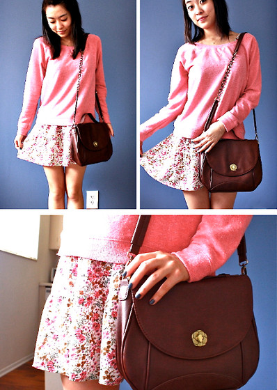 Mindy H - H&M Pink Pullover, Forever 21 Floral Dress (Underneath), Cross Body Bag - ☆ i sing, i swim