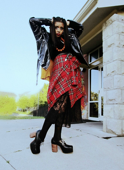 Paolina Russo - Lock Lomond Mill Plaid Skirt, Boogie Shoes Platforms, Downtown Plastic Jacket - It's Wooltastic!
