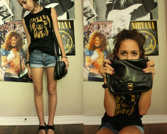 S. T - Black Market Second Hand Nirvana Tee, Urban Outfitters High Waisted Shorts, H&M Bag - I THINK I'M DUMB