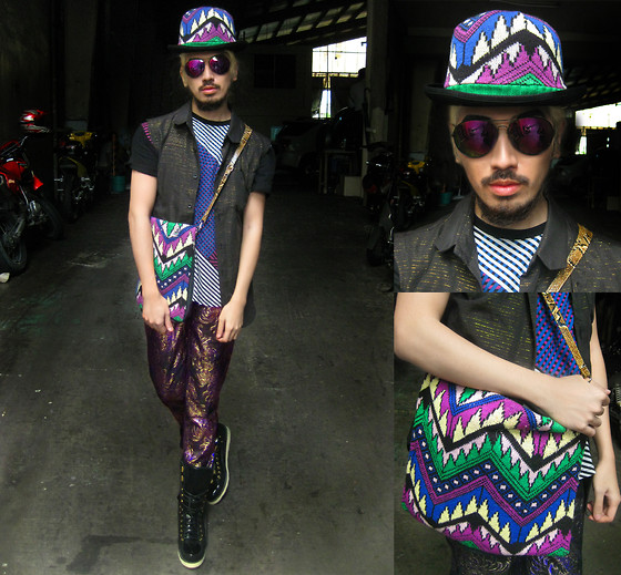 Andre Judd - Patent And Suede Ski Boots, Topman Graphic Tee, Bo Parcon Gold Weaved Lurex Onto Sleeveless Shirt, Purple Gradient Lens, Nouveau Tribal Print Intarsia With Wool Bowler, Nouveau Tribal Knit Bag With Snakeskin And Denim Cobi, Brocade Irridescent Lame Trousers - ALADDIN SANE