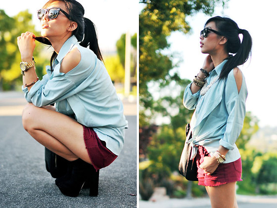 Jenny Ong - Chic Wish Cut Out Blouse, Minkpink Wine Colored Shorts - Minked