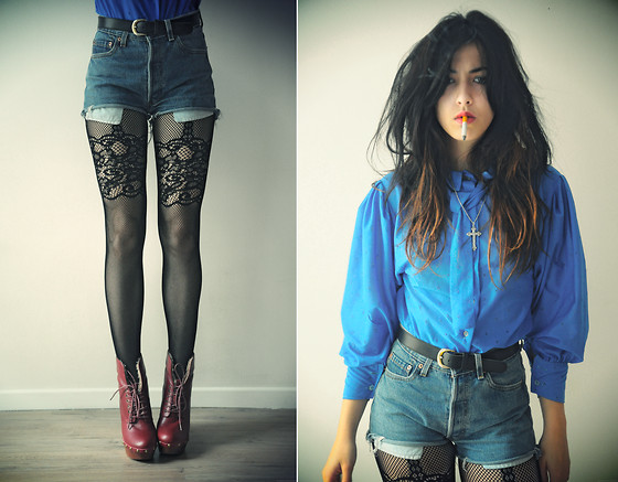 Camille Mompach - Vintage Klein Blouse, Levi's® Levis Short, Zara Fishnet Tights, Jeffrey Campbell Red Denmark - KLEIN BLUE VS RED JEFFREY CAMPBELL