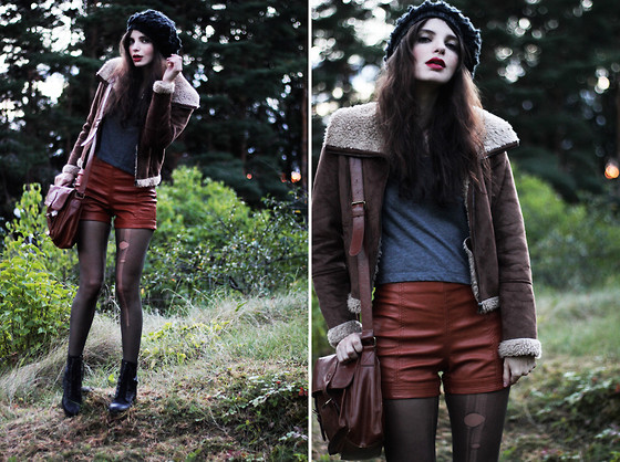 Annika M. - Mq Dark Grey Knitted Beanie, Lindex Faux Sheepskin Pilot Jacket, H&M Cropped Grey T Shirt, Gina Tricot Brown Faux Leather Shorts, Ripped By Mlp Black Stockings, Nilson Black Boots, Vero Moda Brown Leather Satchel - Come As You Are.