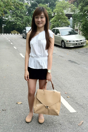 Ashley Liew - Mango White Toga Top, Bangkok, Thailand Black Linen Shorts, Asos Gold Square Face Boyfriend Watch, Yves Saint Laurent Ysl Inspired Arty Oval Ring, Vincci Beige Envelope Bag, Bangkok, Thailand Nude Flats - Short and simple
