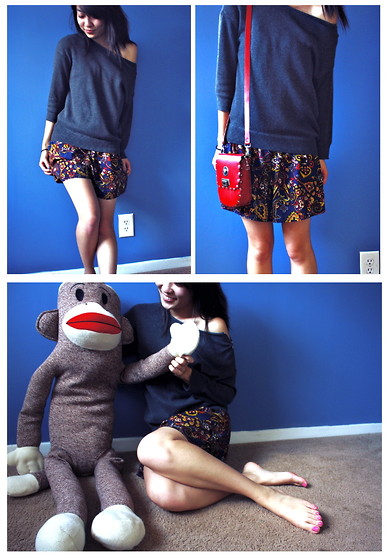 Mindy H - Gap Gray Pullover, China Romper (Underneath), Versace Cross Body Bag - ☆ blindsided