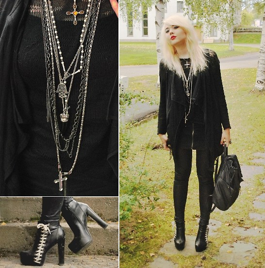 Paula Ilona Viktoria - Heels, Leather Backbag, Gina Tricot Wet Look Leggings, H&M Zipper Skirt, Kappahl Black Knit, Monki Mesh Detailed Vest - Oh, when did you become so cold?