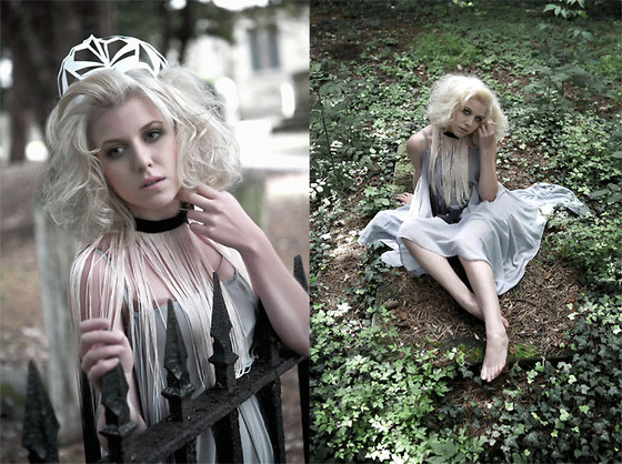 Lyvia Aylward-Davies - Paper Cutout Crown, Handmade Fringing Choker, Asos Pale Blue Sheer Dress - For no good reason.