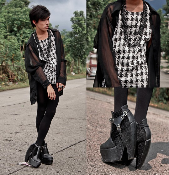 Brian Evalle - Thrift Shop Houndstooth Shirt Pattern, Heel & Sole Shop Zooey Platforms, H&M Leggings, Zara Sheer Button Down Shirt, Forever 21 Necklace - Houndstooth