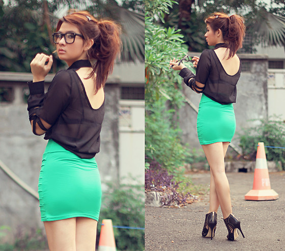 Anastasia Siantar - Eyeglasses, Blouse, Red Cherry Bandage Skirt, Aldo Shoes - Behind my back