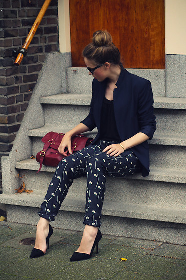 Christine R. - Zara Blazer, River Island Trousers, Topshop Leather Bag, Zara Heels - Burgundy bag