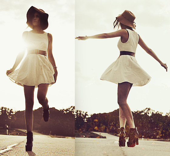 Mira Berglind - Dress, Jeffrey Campbell / Everest, Topshop Hat, Vintage Belt - WHEN THE SUN REACH YOUR SHOULDERS